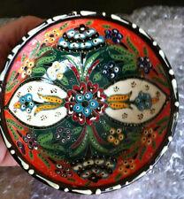 Turkish Ceramic Iznik Tile Bowl Porcelain Ottoman Art 12 cm Embossed Handmade-54