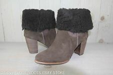 UGG CHARLEE LODGE SUEDE  SHEEPSKIN HIGH HEEL ANKLE BOOTS US 11 NIB