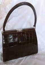 VINTAGE BROWN CROCODILE LEATHER HANDBAG FRAMED KELLY BAG