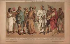 Chromo-Lithografie 1902: KOSTÜME. I. Altertum. Ägypten Rom Trachten Schneider