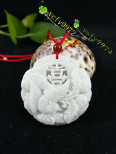 Fashion Natural Jade Phoenix Necklace Pendant Chinese Hand-Carved Lucky Amulet