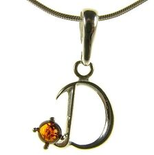 BALTIC AMBER STERLING SILVER 925 ALPHABET LETTER D PENDANT JEWELLERY JEWELRY