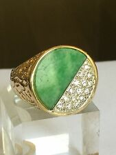 Estate Jumpo Green Jade And 0.45 Carat  Diamond In 14k Gold Men's Ring 16 Grams