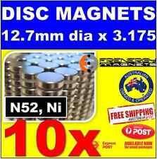 10X DISC Neodymium Rare Earth Magnets 12.7 X 3.175mm N52