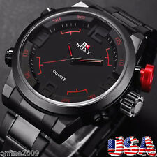 Men Watch Luxury Army Sport Leather Wrist Watch Waterproof Analog Quartz Watches