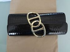 GORGEOUS Auth HERMES Black SHINY Niloticus CROCODILE EGEE Clutch Bag Purse
