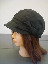 New MONSOON ACCESSORIZE GREY/BLACK BAKER BOY BOW CAP SUNHAT HAT One Size