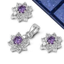 Amethyst & CZ Plumeria .925 Sterling Silver Earrings & Pendant Set