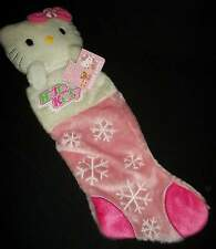 "Hello Kitty Pink Christmas Stocking Plush Head Snowflake 20"" Holiday"