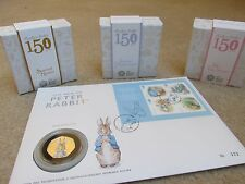ALL Beatrix Potter colour silver proof coin.Peter Rabbit,Puddleduck,Nutkin,Tiggy