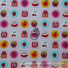 BonEful Fabric FQ Cotton Quilt Pink Fruit Farm Cherry Jam Jelly Jar Calico Berry