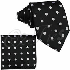 BRAND Men's Polka Dots Self tie Neck tie & Hanky Set Wedding Party Prom Formal