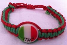 Italy Flag Rope Bracelet Italian Football Wrist Band World Cup Soccer Band NEW
