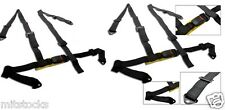 """2 X BLACK 4 POINT 2"""" RACING SEAT BELT HARNESS FIT BUICK *"""