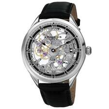 Akribos XXIV AK802SSB Mechanical Skeleton Hand Wind Leather Strap Mens Watch
