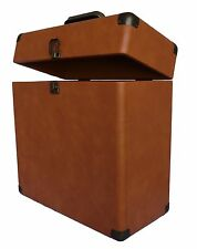 TechPlay Tan Retro Record LP Album Carrying Carry Case Storage Box Leatherette