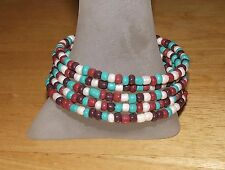 Southwest Colors Beaded Wrap / Coil Bracelet - USA Made - Glass Bead Mix