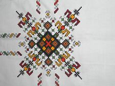 HALBLEINEN LARGE LINEN TABLECLOTH WHITE WITH MULTI COLOR DESIGN