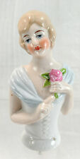 "Vintage Porcelain Half Doll 3 1/2"" Germany Pincushion Holding Rose"