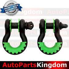 "1 Pair 3/4"" Black 4.75 ton D-ring Shackle+Green Isolator Washers Silencer Clevis"