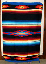 Saltillo Mexican Throw or Area Rug Tapestry Southwestern Lg 4x6' Acrylic BLACK
