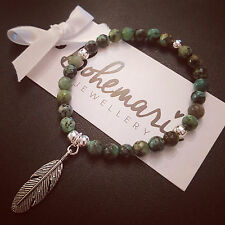 African turquoise feather charm bracelet gemstone bijoux jewellery boho gypsy