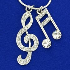 W Swarovski Crystal Treble Clef 16th Music Note Pendant Necklace Charm Gift