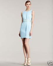 New Versace Blue Plisse-Panel Belted Dress 38 - 4