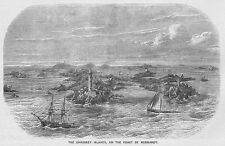CHAUSSEY ISLANDS on the Coast of Normandy - Antique Print 1859