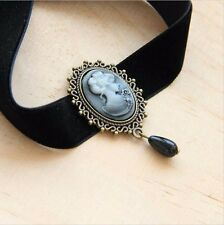 VICTORIANA CAMEO BLACK VELVET CHOKER NECKLACE PARTY JEWEL DROP - UK SELLER