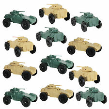Lot of 12 TimMee Processed Plastic ARMORED CARS: Tim Mee Scout Army Men Vehicles