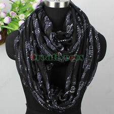 Musical Notes Scale Treble Clef Print Women Ladies Long Scarf/Infinity Scarf New