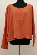 SUNSHINE FLAX 2015 LINEN DAILY CARDI BUTTONED BLOUSE RED PEPPER YARN DYE 1G 1X