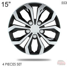 "NEW 15"" ABS SILVER RIM LUG STEEL WHEEL HUBCAPS COVER 553 FOR HONDA"