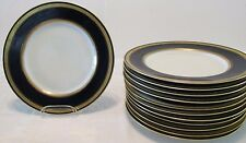 12 Pirkenhammer Cobalt Blue Rim & Gold Encrusted GREEK KEY Band DINNER PLATES