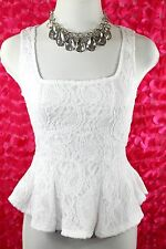 D2 White Lace Lined Sleeveless Blouse Tank  Top Shirt Large Boutique