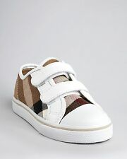 NEW BURBERRY Check Kids Boys Girls White Sneakers Trainers Shoes Sz 27/US 9.5