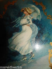 ANTIQUE VICTORIAN  LATE 1800's  CELLULOID PHOTO ALBUM, LADIES WITH UMBRELLA