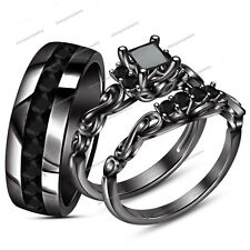 Trio Set 10K Black Gold finish Matching His & Her Engagement Ring Wedding Band