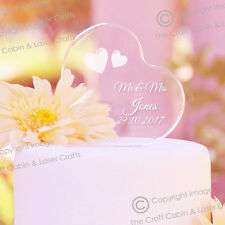 Onorevole & Mrs Personalizzata Crystal Clear acrylic heart WEDDING CAKE TOPPER
