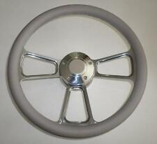 "GRAY Half Wrap 14"" BILLET Steering wheel kit with Hub adaptor & Horn Button NEW"