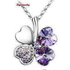 18k White Gold Plated Amethyst Swarovski Crystal Four Leaf Clover Necklace N199