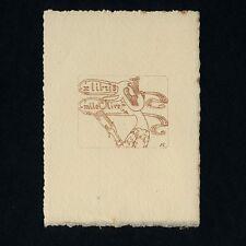Exlibris Bookplate * JULES COLONDRE * Jugendstil Dame 'Emile Olive' Art Nouveau