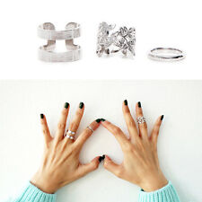 Women Charm Hollow Flower Finger Ring Set Chic Leaf Ring Fashion Knuckle Rings F