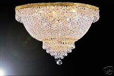 "9 LIGHT 16""X24"" BEAUTIFUL GOLD EMPIRE STYLE SEMI-FLUSH CRYSTAL CHANDELIER"