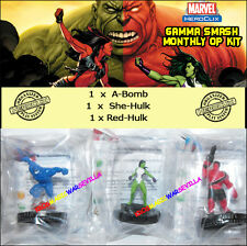 HEROCLIX MARVEL GAMMA SMASH! MONTHLY OP KIT - 1 A-Bomb + 1 She-Hulk + 1 Red-Hulk