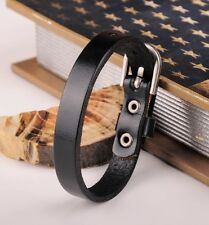 G458 Black Simply Cool Single Wrap Genuine Mens Leather Bracelet Buckle Cuff