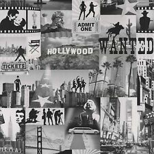 Muriva Wallpaper 102513 - Hollywood Movies & Landmarks Black / White NEW!!!