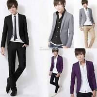 New Fashion Mens Slim Fit Stylish Casual One Button Suit Coat Jacket Blazer Hot