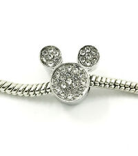 1pcs Silver Mickey European Charm Crystal Spacer Beads Fit Necklace Bracelet HOT